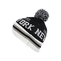 Boys black New York bobble hat