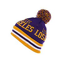 Boys purple Los Angeles bobble hat