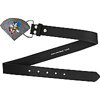 Boys black diamond Sonic plate belt
