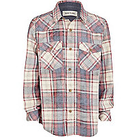 Boys red check western shirt