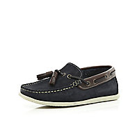 Boys navy tassel boat shoes