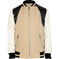 Boys ecru contrast panel bomber jacket