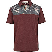 Boys red floral print yoke polo shirt