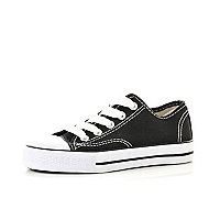 Boys black canvas plimsolls