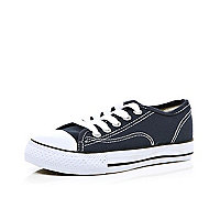 Boys navy canvas pimsolls