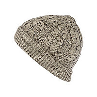 Boys beige mix beanie hat