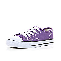 Boys purple canvas plimsolls