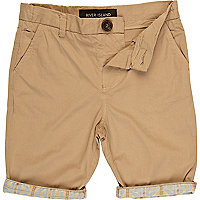 Boys brown aztec hem chino shorts