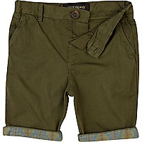 Boys khaki aztec hem chino shorts