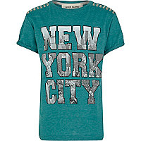 Boys green New York City block t-shirt