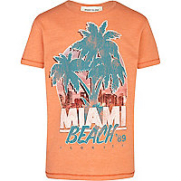 Boys orange Miami print t-shirt
