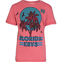 Boys pink Florida Keys print t-shirt