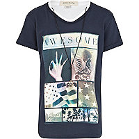 Boys navy awesome print t-shirt and necklace
