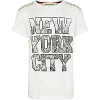 Boys white New York City block t-shirt