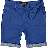 Boys blue aztec hem chino shorts