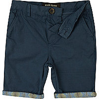 Boys navy aztec hem chino shorts