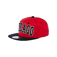 Boys red Chicago trucker hat