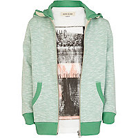 Boys green slub hoodie and t-shirt set