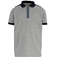 Boys grey polo shirt with epaulettes