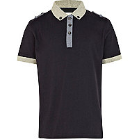 Boys navy shoulder tab polo shirt
