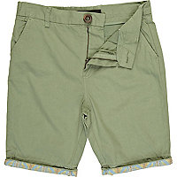 Boys light green aztec hem chino shorts