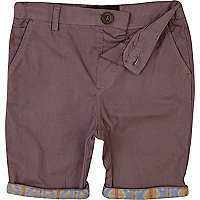 Boys purple aztec hem chino shorts