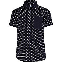 Boys navy polka dot shirt