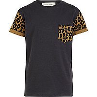 Boys black leopard print sleeve t-shirt