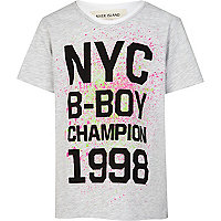 Boys ecru NYC b-boy print t-shirt