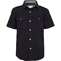 Boys navy military shirt