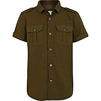 Boys khaki short sleeve military shirt