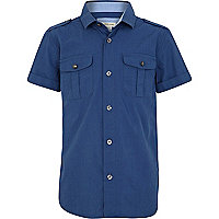 Boys blue military shirt
