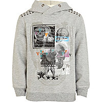 Boys grey marl hooded skull sweatshirt