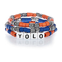 Boys blue YOLO bracelet set