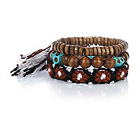 Boys brown braided bracelet set