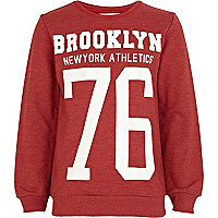 Boys red Brooklyn 76 print sweatshirt