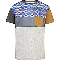 Boys blue aztec yoke t-shirt