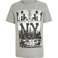 Boys grey marl studded NY t-shirt