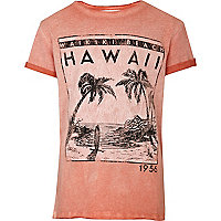 Boys orange Hawaii print t-shirt