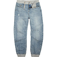 Boys blue light wash denim jogger jeans
