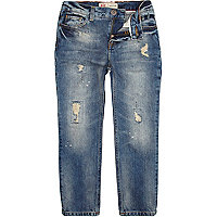 Boys blue mid wash ripped jeans