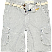 Boys grey ticking stripe shorts