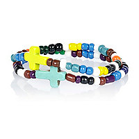 Boys green two pack cross bracelet