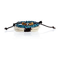 Boys green bead and rope bracelet set