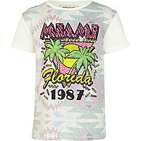 Boys ecru Miami beach party t-shirt