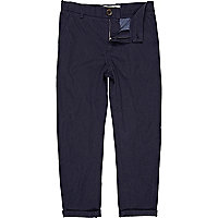 Boys navy roll up chinos