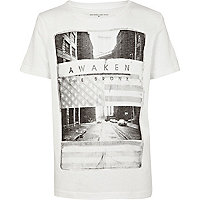 Boys white awaken the Bronx print t-shirt