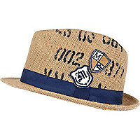 Boys ecru badge trilby