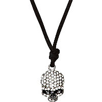 Boys silver tone diamane skull necklace