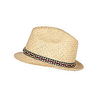 Boys ecru studded trim straw hat